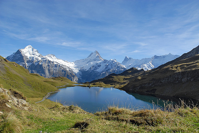 Bachalpsee or Bachse is a lake with an area of 8.06 ha above Grindelwald in the Bernese Oberland, Switzerland. The lake is located at an elevation of 2,265 m.