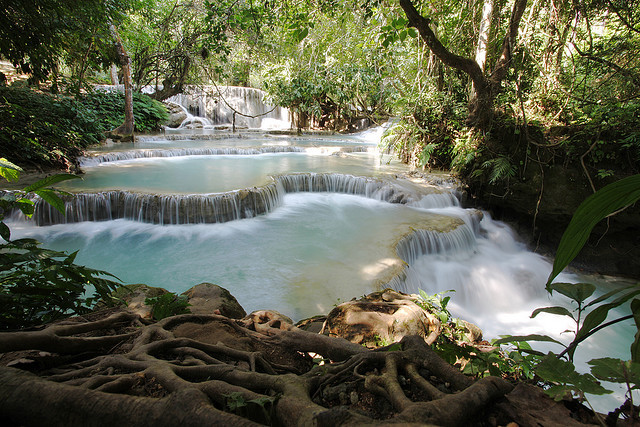 Kuang Si Falls are series of waterfalls about 29 kilometres south of Luang Prabang in Laos. These waterfalls are a favourite side trip for tourists in Luang Prabang....