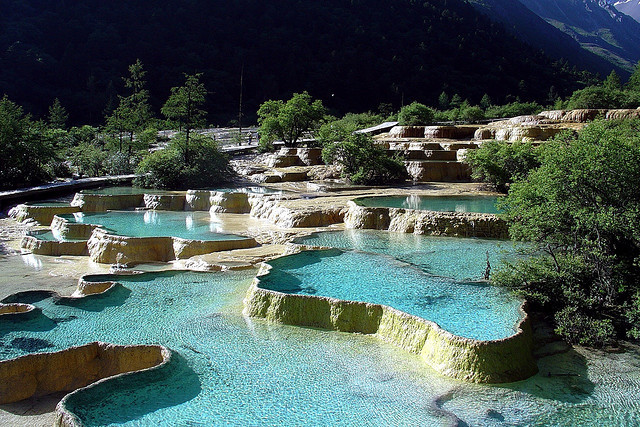 The incredibly beautiful Five Color Pools at the top end of Huanglong National Park - Sichuan Province, China.