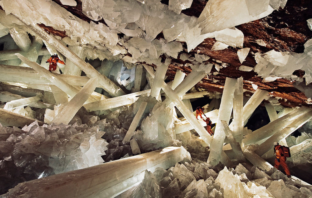 source: National GeographicThe Cave of Crystals  is a cave part of Naica Mine in Chihuahua, Mexico. The chamber contains giant selenite crystals, some of the largest natural...