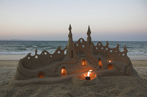 lluminated Sand Castle, Santa Cruz, California