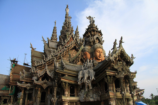 by Eternal Vagabond on Flickr.The Sanctuary of Truth, a Buddhist temple made entirely out of teak wood in Pattaya City, Thailand.