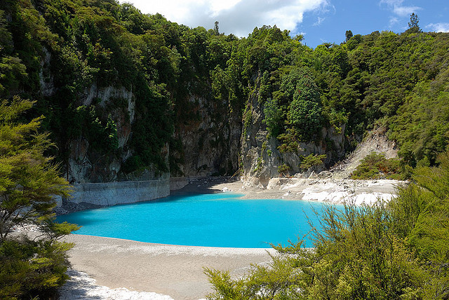 by J03P on Flickr.Crater lake at the Waimangu Volcanic Valley on the Northern island of New Zealand.