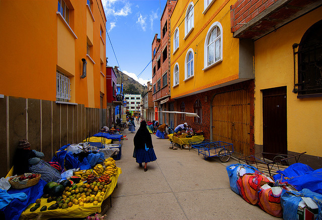 by wili_hybrid on Flickr.Colorful streets of Copacabana village on the shores of Lake Titicaca, Bolivia.
