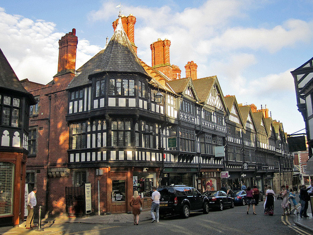 by PMcC in WashDC on Flickr.Victorian half-timbered buildings, St. Werburgh Street, Chester, England.