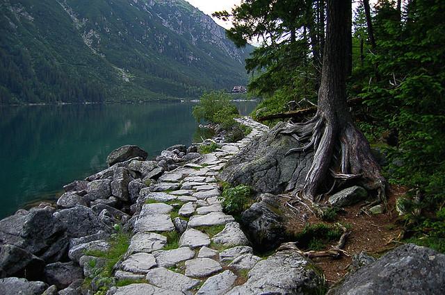 by VJ Maksym on Flickr.Stone path to Morskie Oko lake in Tatra Mountains, Poland.