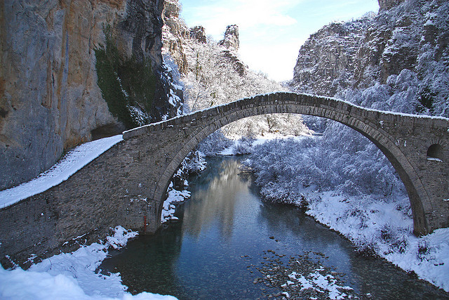 by teo58- on Flickr.Kokkoris old bridge in winter, Epirus, Greece.