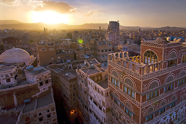 by Michele F. on Flickr.The unique architecture of the Unesco World Heritage City of Sanaa at sunset - Yemen.
