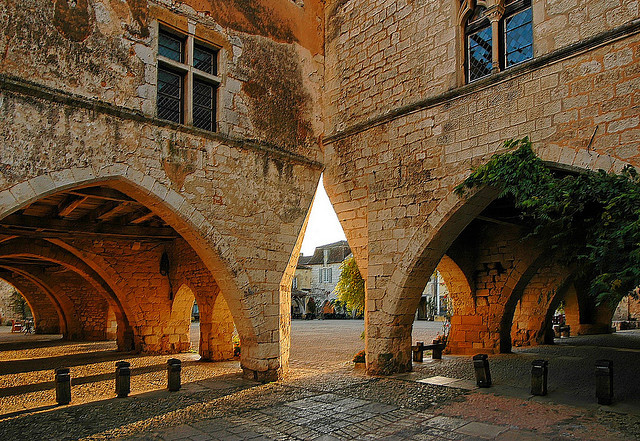 by caminanteK on Flickr.Street scene in Monpazier, a village in Aquitaine, southwest France.