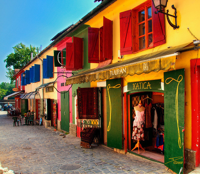 Colorful buildings and shops in Szentendre, Hungary