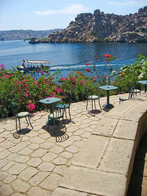 Cafe in the Philae Temple on the shores of Lake Aswan, Egypt