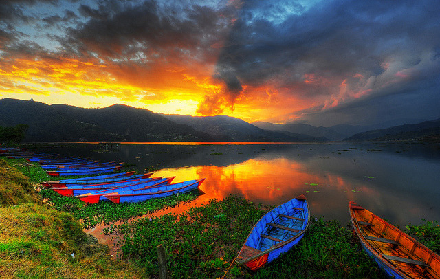 Phewa Lake Sunset in Pokhara, Nepal