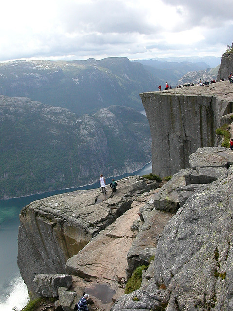 Tourists at Preikestolen above Lysefjord, Norway