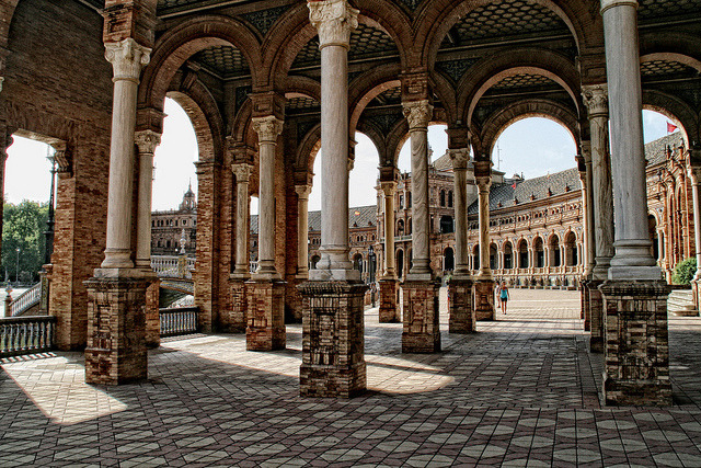 Architectural jewel in Plaza de Espana, Seville, Spain