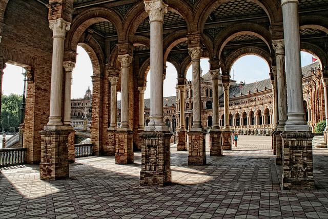 Architectural jewel in Plaza de Espana, Seville, Spain
