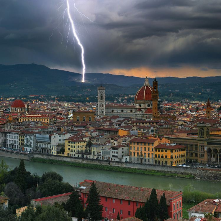 Lightning strike on the hills above Florence, Italy