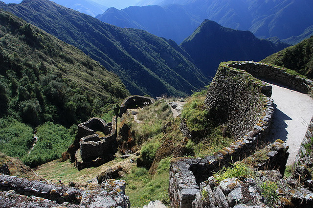 Puyupatamarca ruins on the inca trail, Cusco, Peru