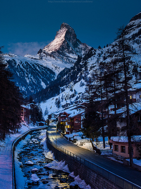 Winters Night, The Alps, Switzerland