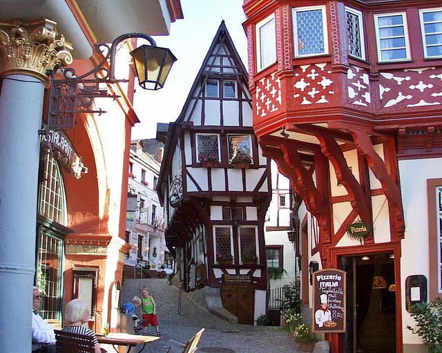 Beautiful timber-framed buildings in medieval Bernkastel-Kues, Germany