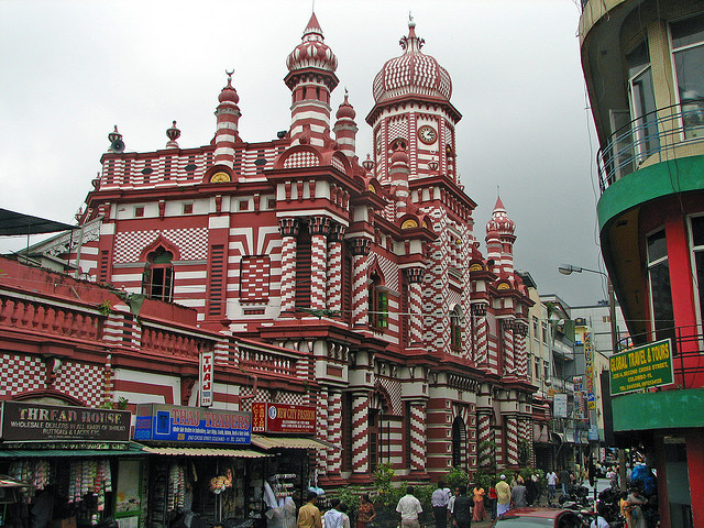 Painted Jami-Ul-Alfar Mosque in Colombo, Sri Lanka