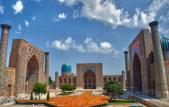 Colours of the silk road, Registan Place in Samarkand, Uzbekistan