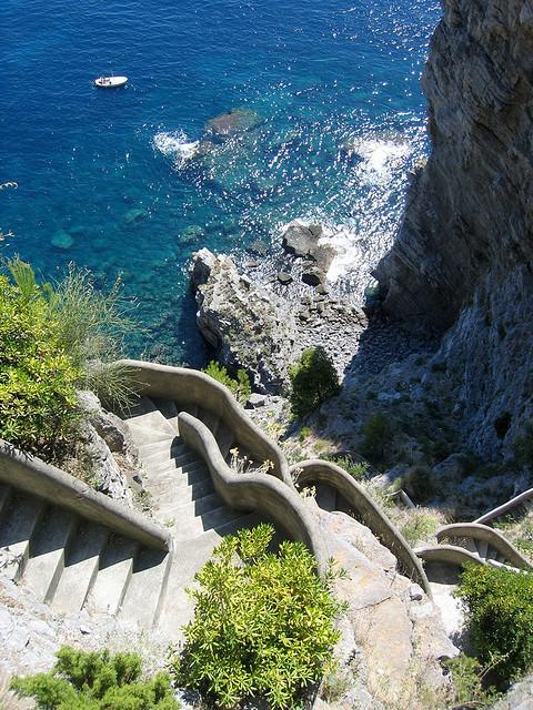 Going down to the beach, Costa Amalfitana, Italy