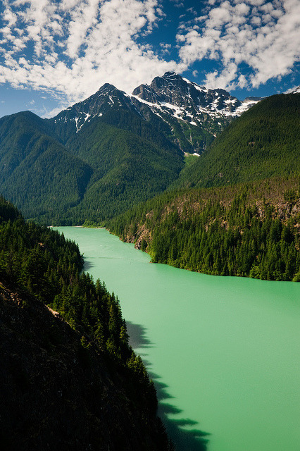The glacial waters of Ross Lake in North Cascades, Washington, USA
