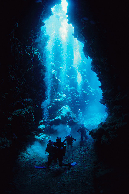Exploring the underwater caves in New Caledonia