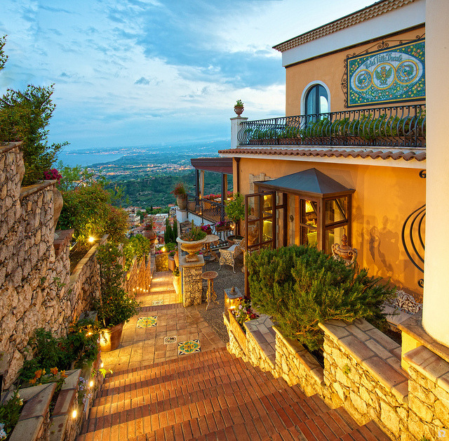 Evening at Boutique Hotel Villa Ducale in Taormina, Sicily, Italy