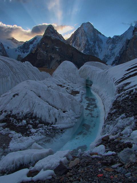 Sunrise behind Gasherbrum IV in Karakorum Mountains, Pakistan