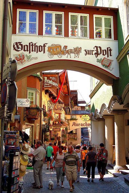 Summer tourists in Kufstein, Tyrol, Austria