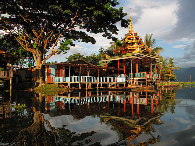 Monastery on the shores of Inle Lake, Myanmar