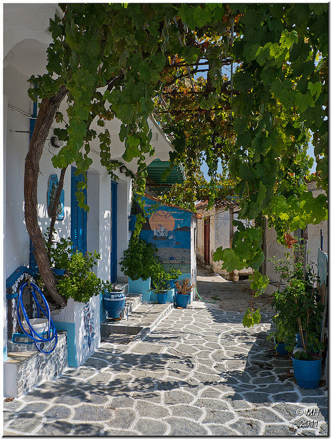 Beautiful street in Glossa, Northern Sporades, Greece