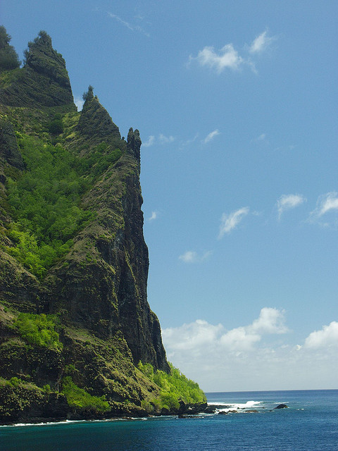 The cliffs of Fatu Hiva on Marquesas Islands, French Polynesia