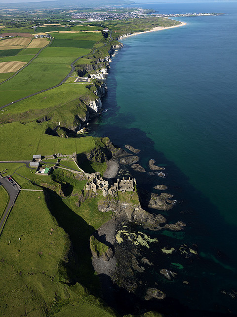 Dunluce Castle and Antrim coast in Northern Ireland