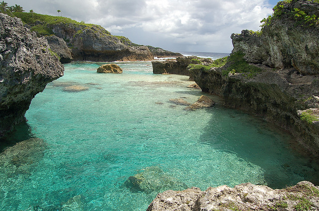 Magical cove on the northeast coast of Niue Island, Polynesia