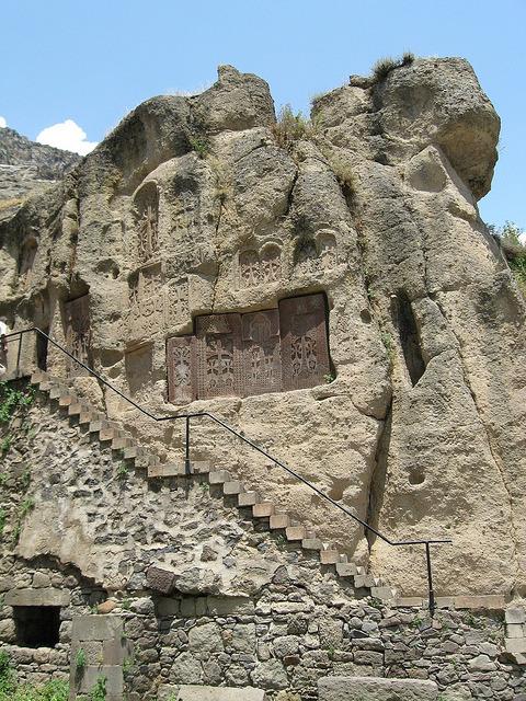 Cross Stone wall near Geghard Monastery built in 4th century, Kotayq Province, Armenia