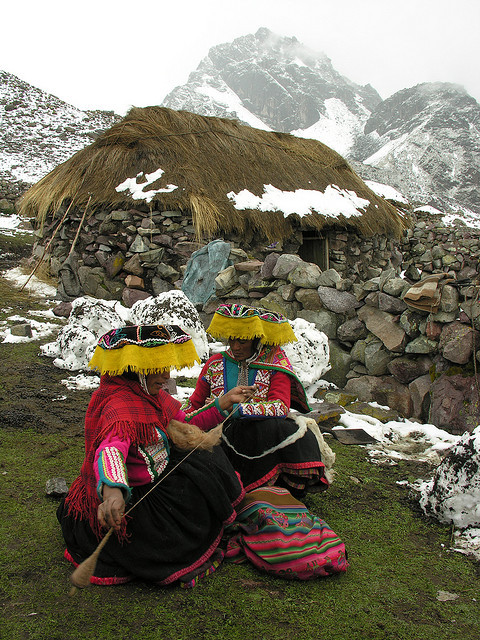 Quechua natives at the footsteps of Ausangate Peak in Cordillera Vilcanota, Peru