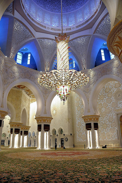 Details inside of The Grand Mosque in Abu Dhabi, United Arab Emirates