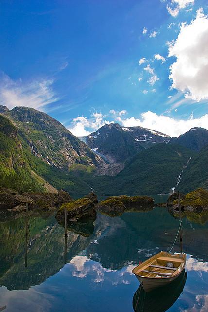 Reflections in Bondhus Lake in Kvinnherad, Norway