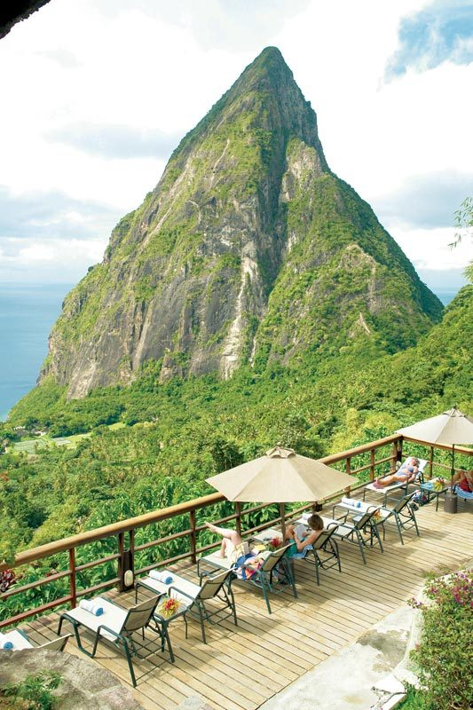 Enjoying the view from Ladera Resort, St. Lucia.
