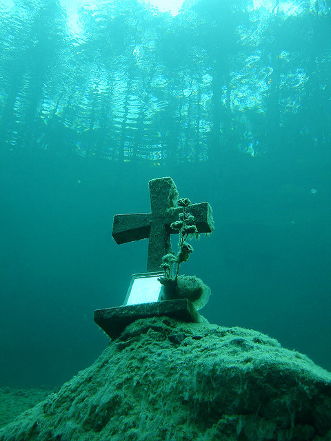 Underwater cross at Sameranger Lake in Tyrol, Austria