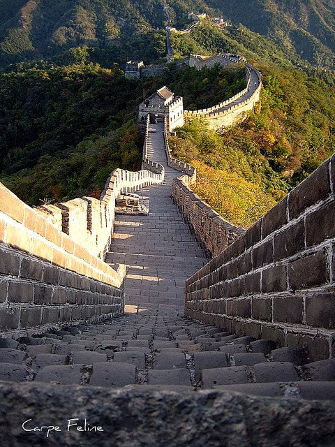 Steep steps towards the next guard hut, The Great Wall of China
