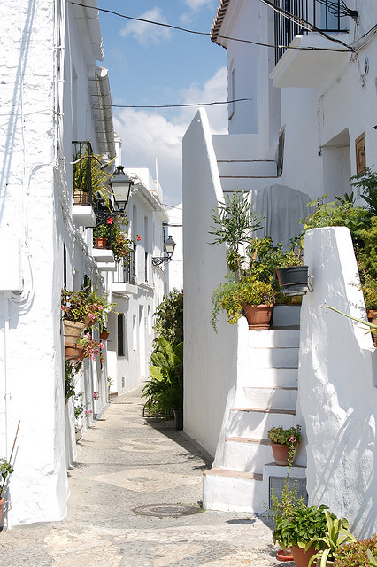 Beautiful white streets of Frigiliana in Andalusia, Spain