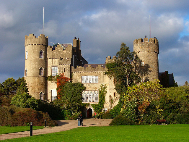 Malahide Castle with fall colors, outside Dublin, Ireland