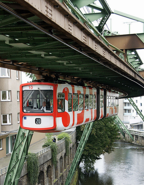 Wuppertal Schwebebahn or Wuppertal Floating Tram, a suspension railway in Wuppertal, Germany