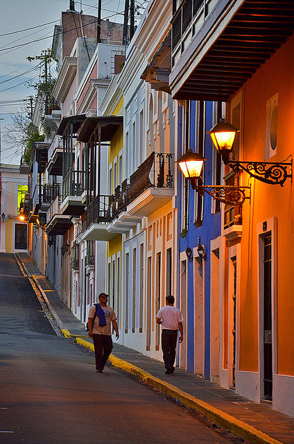 Evening on the streets of San Juan, Puerto Rico