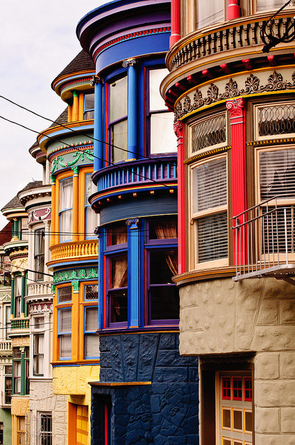 Haight Street victorian buildings in San Francisco, USA