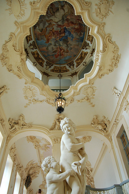 Architectural details inside Rastatt Castle, Germany