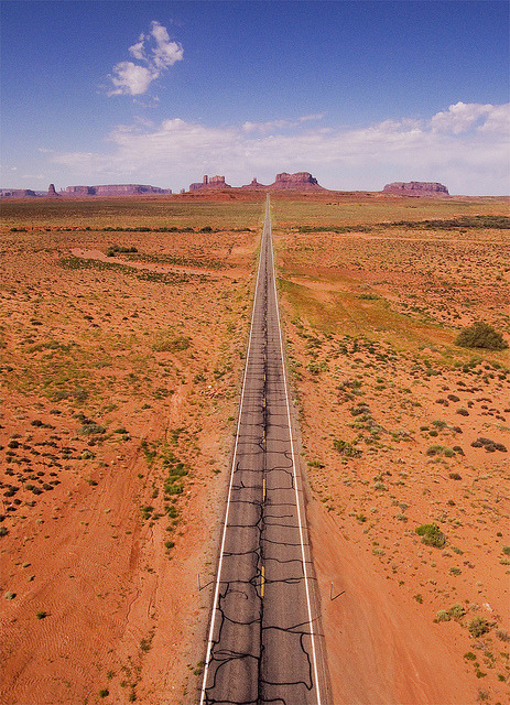 Heading South West on highway 163 in Utah towards Monument Valley, USA